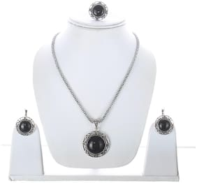 Lucky Jewellery Designer Oxidised German Silver Plated Black Color Navratri Garba Jewelry Locket Pendant Set With Matching Earring And Ring For Girls & Women (325-CHL1O-LJ618B-BL-S)