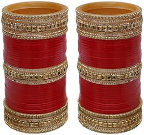 Lucky Jewellery Red Designer Chura Bridal Wedding Punjabi Choora Fashion Jewellery Chuda Set