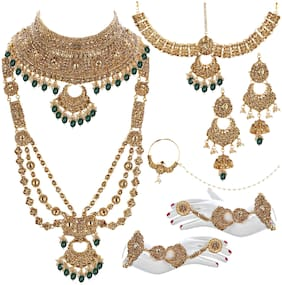 Lucky Jewellery Ethnic Copper Finish Bridal Gold Green Color Drops Alloy Gold Plated Wedding Dulhan Shadi Jewellery Set For Girls & Women