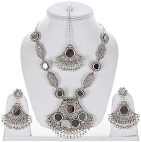 Lucky Jewellery Tribal Designer Oxidised German Silver Plated Mirror Work Navratri Garba Necklace Set with Matching Earring And Maang Tikka For Girls & Women (644-TSO-11940-S)