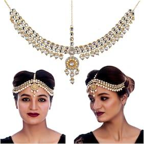 Lucky Jewellery Designer Gold Plated White Color Moti Pearl Maang Tikka Stone Damini Wedding Mathapatti For Girls & Women (380-L1PK-32-W)