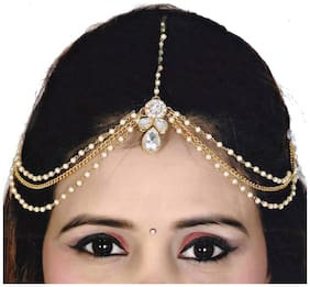 Lucky Jewellery Bridal Collection White Color Stone Tikka Wedding Matha Patti For Girls & Women
