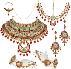Lucky Jewellery Ethnic Copper Finish Bridal Matte Meenakari Multi Color Alloy Gold Plated Wedding Dulhan Shadi Jewellery Set For Girls & Women (4620-A4ZM2-1556SM-M2-R-RED)