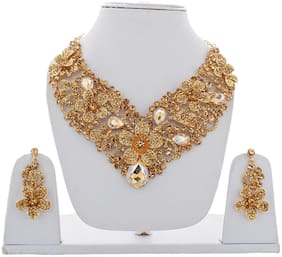 Lucky Jewellery Designer LCT Color Stone Rhine Stone Flower Shaped Gold Plated Necklace Set With Earring For Girls & Women (1632-CHSS-LJ689-LCT)