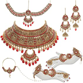 Lucky Jewellery Ethnic Copper Finish Bridal Gold Red Color Drops Alloy Gold Plated Wedding Dulhan Shadi Jewellery Set For Girls & Women