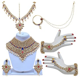 Lucky Jewellery Magenta Blue Bridal Dulhan Wedding & Engagement Necklace set With Mang Tikka