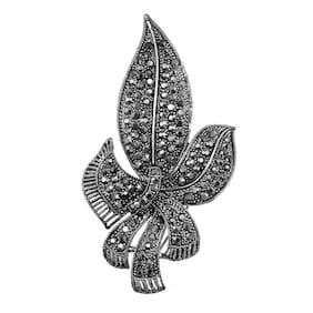 Lucky Jewellery Designer Black Color Stone Brooch For Men & Women