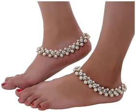 Lucky Jewellery Designer White Color Antique Polish Anklet Payal Pair Of One For Girls & Women