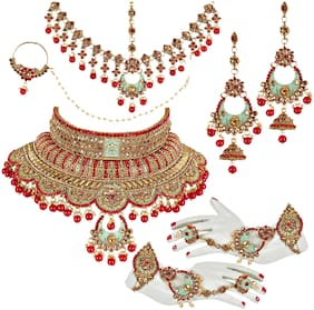 Lucky Jewellery Ethnic Copper Finish Bridal Matte Meenakari Multi Color Alloy Gold Plated Wedding Dulhan Shadi Jewellery Set For Girls & Women (4620-A4ZM2-1557SM-M2-RED)