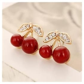 Popmode Minimal Lydia Gold Plated Cherry Earrings for Women