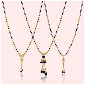 LYRISS  new stylish 062 jewellery golden combo pack of 3 black bead chain Alloy Mangalsutra