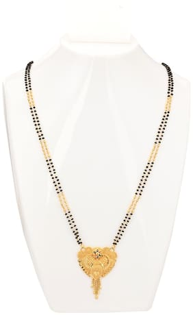Maalgodam 22 Inch Jewellery Traditional gold Temple Mangal sutra Set chain Pendant Necklace Black beads Chains golden Tanmaniya vati Mangalsutra for Women latest design new Copper;Brass Mangalsutra