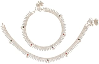 Maalgodam Indian Traditional Pure German Silver Anklets Payal Fancy Collection With Pure Silver Plating Plated Attached Fashion Designer Barefoot Foot Jewellery Lady Ankle Leg Chain For Women