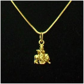 Maalgodam Krishna with Cow Gold Plated Religious God Pendant with Chain for Men & Women