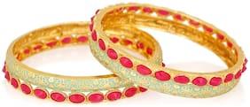 Mahi Gold Plated Mesmerising Meena Work Bangles with red Crystal Stones BA1105204G2Q2.8