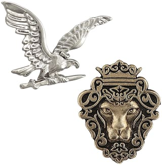 Mahi Classic  Gifting Combos of Eagle and Lion Face Gold, Silver Alloy Lapel Pin/Brooch for Men CO1104989M
