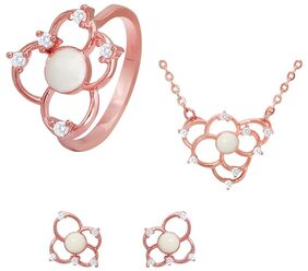Mahi Combo of CZ White Flower Rose Gold Plated Pendant Set with Ring for Women CO1104439Z10