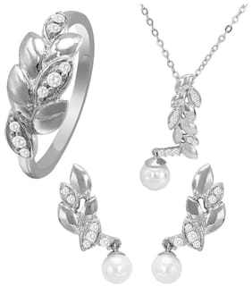 Mahi Combo of CZ Leaf Shimmer Rhodium Plated Pendant Set and Ring for Women CO1104466R14