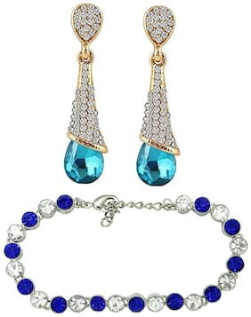 Mahi Christmas Special Combo of Eternal Blue Drop Earrings andTennis Bracelet with Crystal Stones CO1104649M