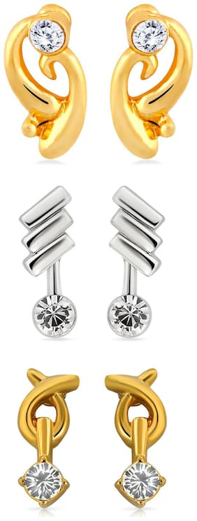 Mahi Valentines special Gift Combo of three pairs of Stud Earrings with Crystals for Women CO1104217M