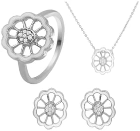 Mahi Combo of CZ White Floral Rhodium Plated Pendant Set with Ring for Women CO1104442R12