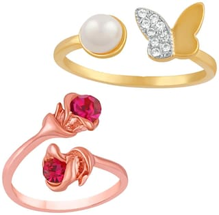 Mahi Combo of 2 Fabulous Rose and Butterfly Crystal Finger rings with Cubic Zirconia and Arttificial Pearl CO1104751M