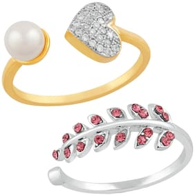 Mahi Combo of 2 Gleaming Crystal Finger Rings with Cubic Zirconia and artificial pearl CO1104749M
