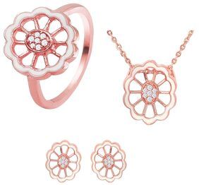 Mahi Combo of CZ White Floral Rose Gold Plated Pendant Set with Ring for Women CO1104445Z14