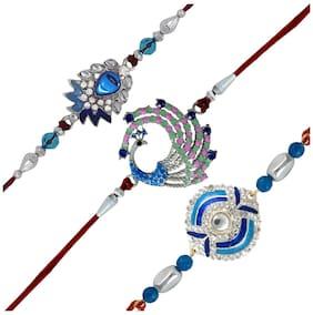 Mahi 3 Rhodium Plated Blue Love Rakhi Combo Bracelet for Dear Brother CO1104639R