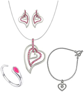 Mahi Valentines special Combo of Heart Pendant Set Bracelet and Finger Ring with Crystal and Cubic Zirconia for Women CO1105046R