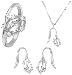 Mahi Combo of CZ Leaf Duo Rhodium Plated Pendant Set and Ring for Women CO1104478R10