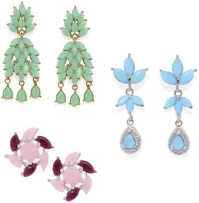 Mahi Combo of Dazzing Earrings with Multicolor Crystal for Women and Girls CO1104921M