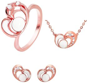 Mahi Combo of CZ White Heart Rose Gold Plated Pendant Set with Ring for Women CO1104451Z10