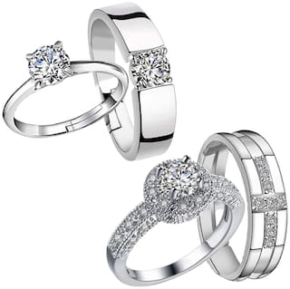 Mahi Combo of Solitaire Proposal Adjustable Couple Rings with White Crystals for Men and Women (CO1105211R)