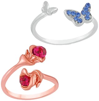 Mahi Combo of 2 Beautiful Floral Butterfly love Finger Rings with sparkling Crystal stones CO1104748M