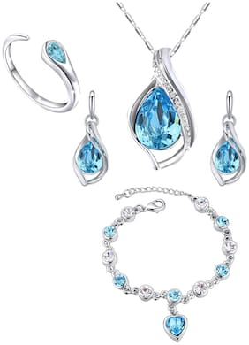 Mahi Valentines Gift Combo of Majestic Blue Pendant Set Heart Bracelet and Finger Ring with Crystal and Cubic Zirconia for Women CO1105044R