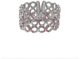 Pink;Silver Alloy;Brass Bangle