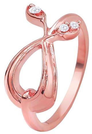 Mahi CZ Twin Leaf Rosegold Plated Ring for Women FR1193677Z12