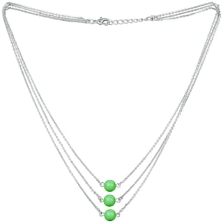 Mahi Designer Multilayered Neon Green Swarovski Pearl Necklace Mala Made of Alloy for Girls and Women NL1104606RNGre