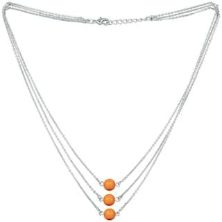 Mahi Designer Multilayered Neon Orange Swarovski Pearl Necklace Mala Made of Alloy for Girls and Women NL1104607RNOra