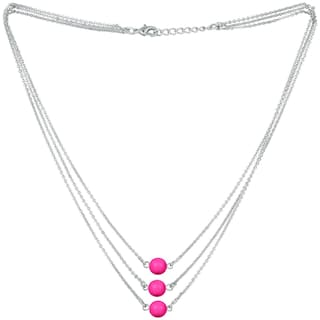 Mahi Designer Multilayered Neon Pink Swarovski Pearl Necklace Mala Made of Alloy for Girls and Women NL1104608RNPin