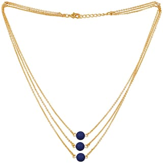 Mahi Designer Multilayered Lapis Blue Swarovski Pearl Necklace Mala Made of Alloy for Girls and Women NL1104604GLBlu