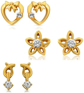 Mahi Eita Collection Combo of Gold Plated Crystal Stones Stud Earrings For Women CO1104001G