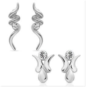 Mahi Eita Collection Combo of Rhodium Plated Fashion Earrings Studs with Crystal Stones CO1104013R