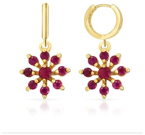 Mahi Christmas Special Eita Collection Red Gold Plated Ruby Earrings For Women - ER1103867G