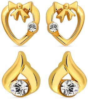 Mahi Eita Collection Combo of Gold Plated Fashion Earrings Studs for Women with Crystal Stones CO1104011G