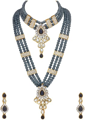 Mahi Ethnic Gold Plated Grey And Gold Kundan Necklace Set For Women VNCJ100158GREY