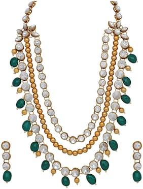 Alloy Green;Gold Kundan Necklace Set