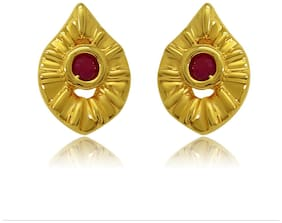 Mahi Exa Collection Ruby Red Rain Drop Gold Plated Stud Earrings for Women ER6012008G