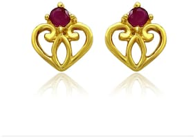 Mahi Exa Collection Ruby Red Fancy Heart Gold Plated Stud Earrings for Women ER6012032G
